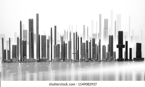 Different sizes of screws