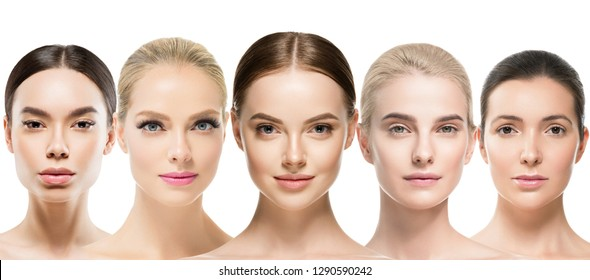 Different skin tones women faces with healthy beautiful skin care closeup natural makeup isolated on white