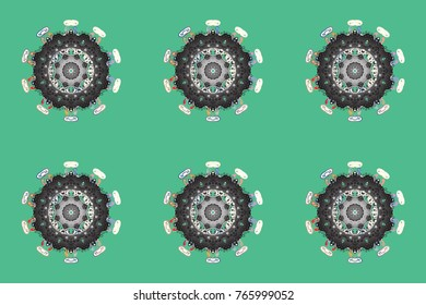 Different snowflake collection raster, winter elements on a green, gray and white colors. Raster christmas abstract colorful background with cute snowflake.