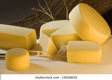 Different sort of farm made cheese produced from goat milk