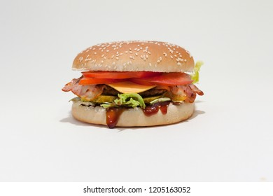 Different sortiments of hamburger with cheese on a white table with white background