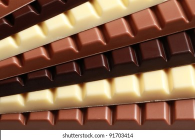Different sorts of chocolate in a stack