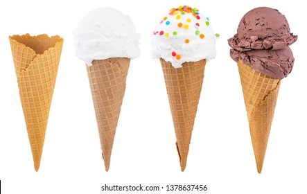 Different sorts of Ice Cream in a waffles cones isolated on white background, with clipping path.