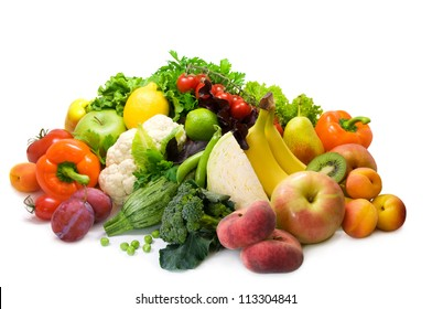 Different sorts of vegetables, fruit and spicy herbs