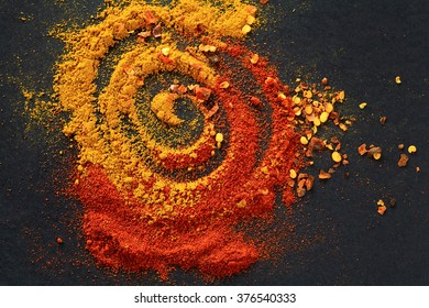 Different spices for food. top view