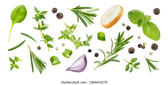 Different spices and herbs isolated on white background, basil leaf, thyme, green onion, black pepper, rosemary, top view