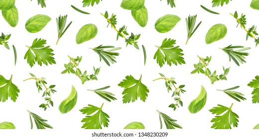 Different spices and herbs seamless pattern isolated on white background, basil leaf, thyme, rosemary, top view