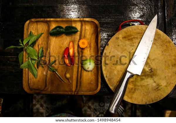Different spices and ingredients for an Asian meal, ready for cooking