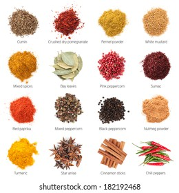 Different spices. Isolated on white background