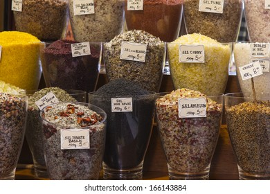 Different spices on the counter of the city market on the Cote d'Azur. Natural spices from Provence are the basis for the original local cuisine