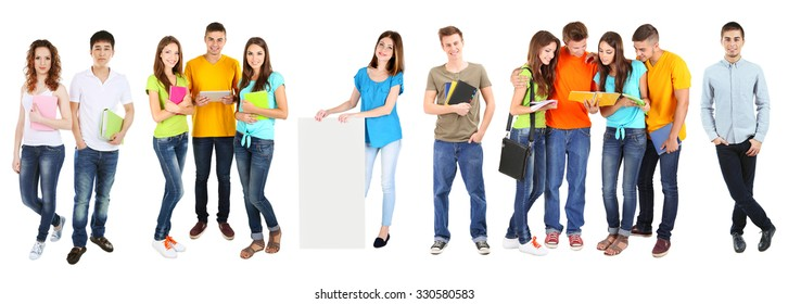 Different students, isolated on white