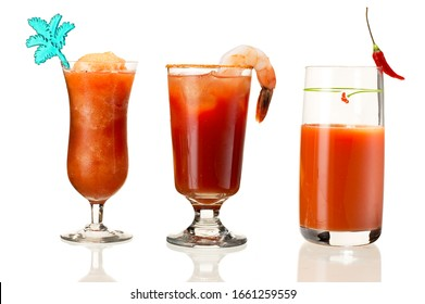 Different style drinks on white background