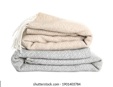 Different stylish soft plaids on white background