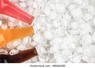 different sugar drinks are cooling in the ice