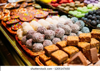 Different Sweet Candies in market in Barcelona, Christmas Time