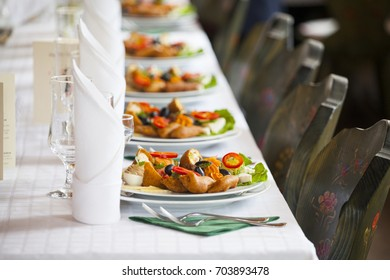 Different tasty appetizers on luxury banquet or wedding table