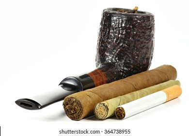 different tobacco products isolated on white background