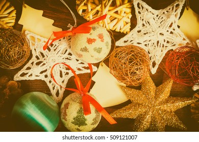Different type of christmas decorations in vintage toning. Xmas ornaments