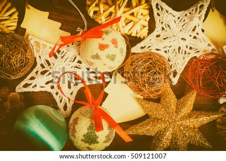 different type of christmas decorations in vintage toning xmas ornaments