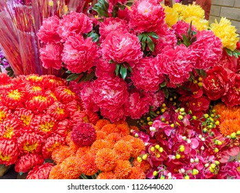 Different type of colorful flowers decorating for Chinese New Year.
