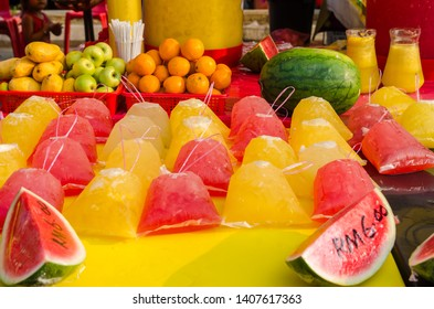 Different type of fruit juices selling in Ramadan Bazaar Kuala Lumpur. It is established for muslim to break fast during the holy month of Ramadan