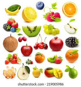 Different type of fruits isolated on white background