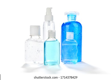 Different type of hand sanitizers for personal hygiene fights isolated on white background.