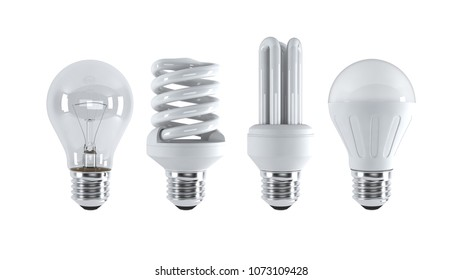 Different type of light bulbs. (3d illustration)