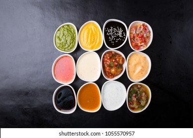 Different type of sauces served in bowls