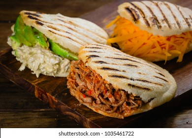 Different types of arepas, the typical Venezuelan food