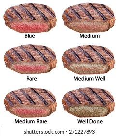 Different types of beef steaks isolated on a white background. File contains clipping paths.