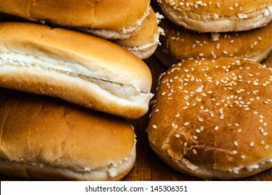 different types of bread buns for hamburgers or hot dogs
