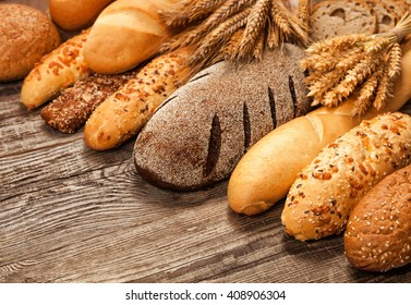 different types of bread isolated on white background.