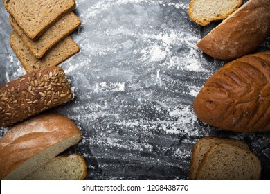 different types of bread in a symmetrical composition
