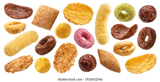 Different types of breakfast cereals isolated on white background, sweet cornflakes, chocolate pads and rings, puffed rice and wholegrain flakes collection