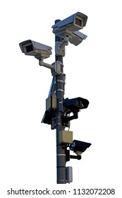 Different types of CCTV security cameras fixed on a pole, isolated on a white background - security, big brother concept