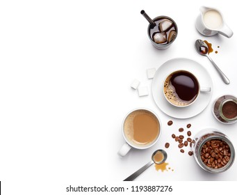 Different types of coffee and ingredients over white background with copy space