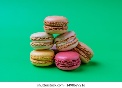 Different types of colourful macaroons in close up, Sweet and colourful french macaroons.