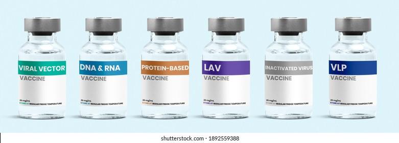 Diferentes tipos de vacuna COVID-19 en frascos de vidrio con etiquetas