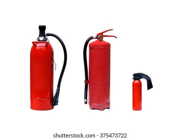 different types of fire extinguishers isolated
