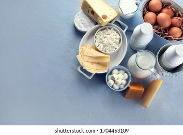 Different types of fresh farm dairy products. Foods rich in Calcium. Top view with copy space