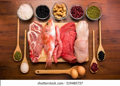 Different types of healthy uncooked proteins