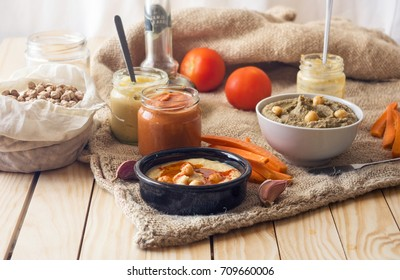 Different types of hummus and ingredients