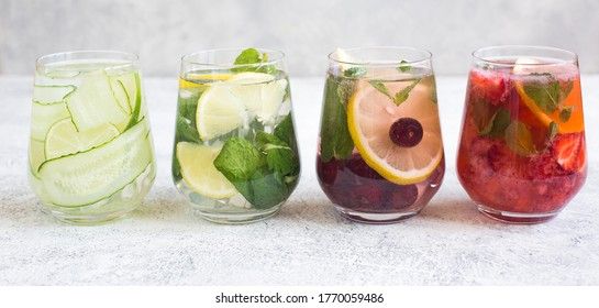 Different types of lemonade, classic, strawberry, french, cucumber. Summer refreshing drinks