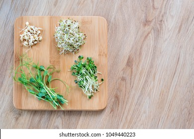 Different types of micro greens on wooden background. Healthy eating concept of fresh garden produce organically grown as a symbol of health and vitamins from nature. Microgreens ready for cooking.