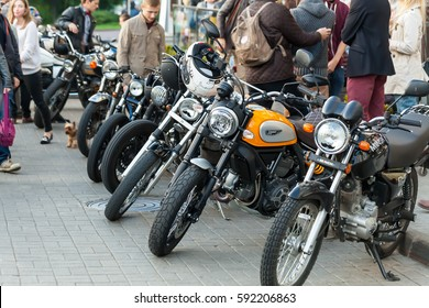 Different types of motorcycles park at the Distinguished Gentleman's Ride, a global fundraiser for prostate cancer Belarus, Minsk, October 2015