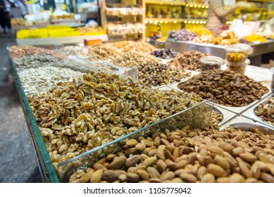 Different types of nuts, almond, walnut in the market. Mahane Yehuda, Jerusalem, Israel
