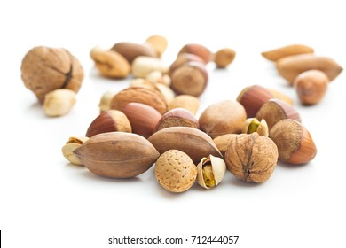 Different types of nuts in the nutshell. Hazelnuts, walnuts, almonds, pecan nuts and pistachio nuts isolated on white background.