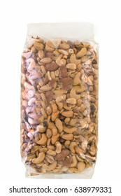 Different types of nuts in packet.Clipping path.