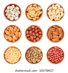 different types of nuts, pistachios, walnuts, cashews, almonds, hazelnuts, pecans, pine nuts, peeled pistachios, peanuts